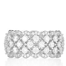 Diamonique 2.8ct tw Scalloped Band Ring Sterling Silver