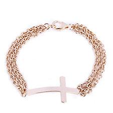 Bronzo Italia Multi Strand Cross Bracelet