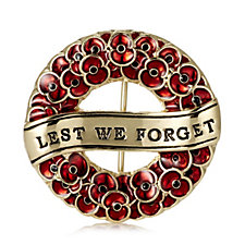 The Poppy Collection Lest We Forget Wreath Brooch by Buckley London