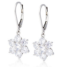 Diamonique 4.8ct tw Flower Drop Earrings Sterling Silver