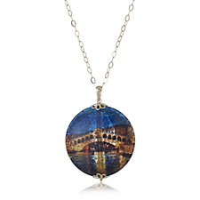 Murano Glass Rialto Bridge 70cm Pendant & Chain Sterling Silver
