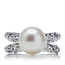 Honora 10-10.5mm Cultured Button Pearl Byzantine Ring Sterling Silver