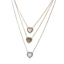 330526 - Butler & Wilson Three Chains Crystal Hearts Necklace