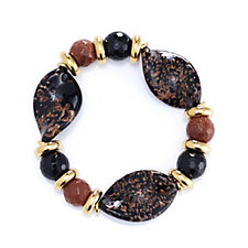 Murano Glass Twisted Aventurina Stretch Bracelet