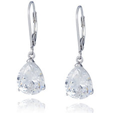 Diamonique 6ct tw Pear Cut Leverback Earrings Sterling Silver