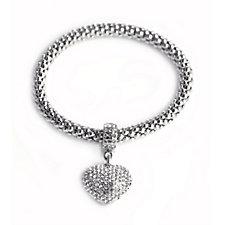 Nour Popcorn Bracelet with Pave Heart Charm