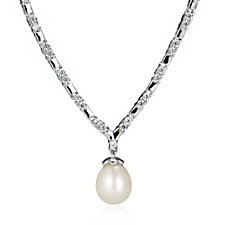 306428 - Diamonique 2.4ct tw Simulated Diamond & FW Pearl Necklace Sterling Silver