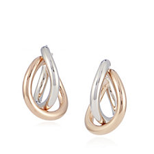 307128 - Bronzo Italia 2 Tone Hoop Earrings