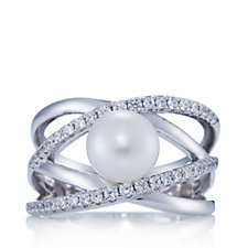 Diamonique 0.4ct tw Open Work Simulated Pearl Ring Sterling Silver