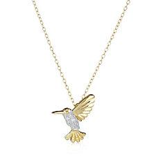 Diamonique 0.2ct tw Bird Pendant & 45cm Chain Sterling Silver