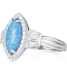 Diamonique 0.3ct tw Simulated Opal Baguette Ring Sterling Silver