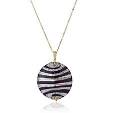 Murano Glass Humbug Pendant 70cm Chain Sterling Silver