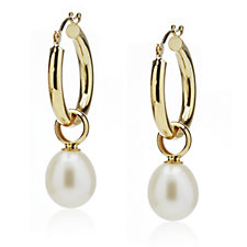 Honora 8-9mm Cultured Oval Pearl Hoop Earring 14k Gold