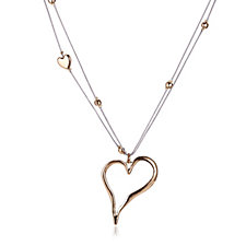 Frank Usher Highly Polished Station Heart 80cm Necklace
