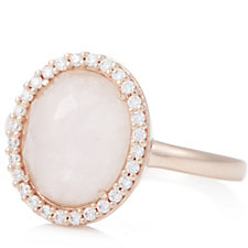 Diamonique 0.3ct tw Rose Quartz Cocktail Ring Sterling Silver