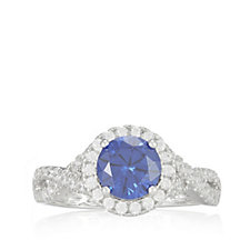 Diamonique 1.5ct tw Pave Solitaire Ring Sterling Silver