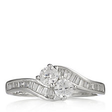 Diamonique 0.7ct tw Baguette Bypass Ring Sterling Silver