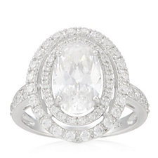 Michelle Mone for Diamonique 2.8ct tw Halo Cocktail Ring Sterling Silver