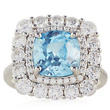 332328 - Diamonique 4.3ct tw Simulated Paraiba Halo Ring Sterling Silver