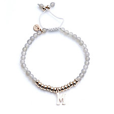Lola Rose Pimlico Semi Precious Grey Agate Initial Bracelet