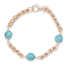 Bronzo Italia Turquoise Bead Byzantine 20cm Bracelet