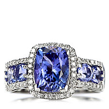3ct AAA Tanzanite Cushion Cut Solitaire Ring 18ct White Gold