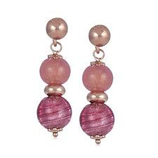 Murano Glass Double Drop Orb Earrings Sterling Silver