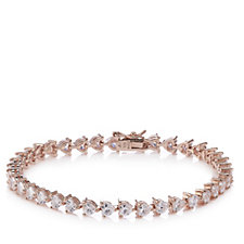 Diamonique by Andrea McLean 9.5ct tw Heart 19cm Bracelet Sterling Silver