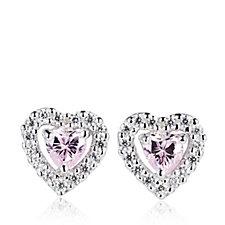 Diamonique 0.8ct tw Heart Stud Earrings Sterling Silver