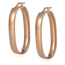 Bronzo Italia Long Oval Hoop Earrings