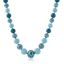Murano Glass Premium Graduated Orb 51cm Necklace Sterling Silver