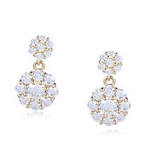 Diamonique 0.6ct tw Cluster Drop Stud Earrings 9ct Gold