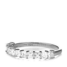 330930 - Diamonique 1.1ct tw Princess Cut Half Eternity Ring Sterling Silver