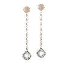 Bronzo Italia Blue Topaz Drop Earrings