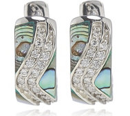 Diamonique 0.4ct tw Mother of Pearl Huggie Earrings Sterling Silver