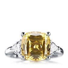 Diamonique 4.7ct tw Yellow Simulated Diamond Ring Sterling Silver