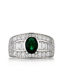Diamonique by Tova 3ct tw Simulated Emerald Band Ring Sterling Silver