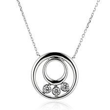 Diamonique 0.3ct tw Double Circle Pendant & 45cm Chain Sterling Silver