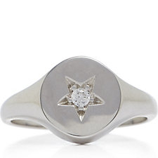Diamonique 0.2ct tw Star Signet Ring Sterling Silver