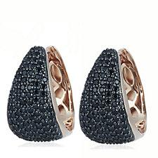 Bronzo Italia Black Spinel Huggie Hoop Earrings