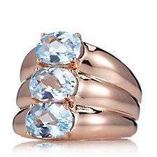 Bronzo Italia Triple Band Blue Topaz Ring