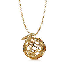 Bill Skinner Honeycomb Bee Pendant & Long 80cm Chain Necklace