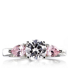 Diamonique 2.5ct tw 3 Stone Ring Sterling Silver
