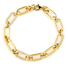 K by Kelly Hoppen Crystal Link Bracelet 18ct Gold Vermeil Sterling Silver