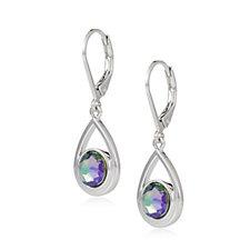 Aurora Swarovski Crystal Suspended Drop Leverback Earrings