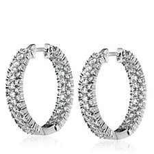 Michelle Mone for Diamonique 2.4ct tw Chevron Hoop Earrings Sterling Silver