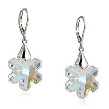 Aurora Swarovski Crystal Snowflake Drop Earrings