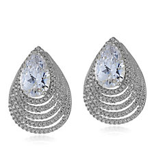 Diamonique by Tova 5.1ct tw Pear Cut Layered Earrings Sterling Silver