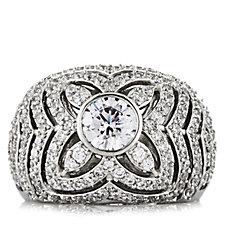 Diamonique by Tova 2ct tw Filigree Dome Ring Sterling Silver