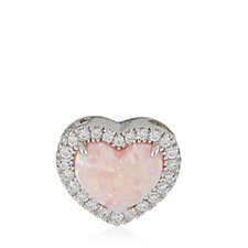 Diamonique 0.2ct tw Pink Opal Heart Pendant Sterling Silver